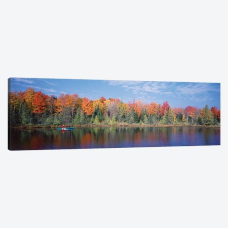 Man in Canoe near Antigo WI USA Canvas Print #PIM12030} by Panoramic Images Canvas Artwork