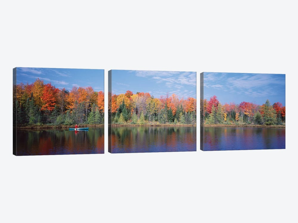 Man in Canoe near Antigo WI USA by Panoramic Images 3-piece Canvas Print