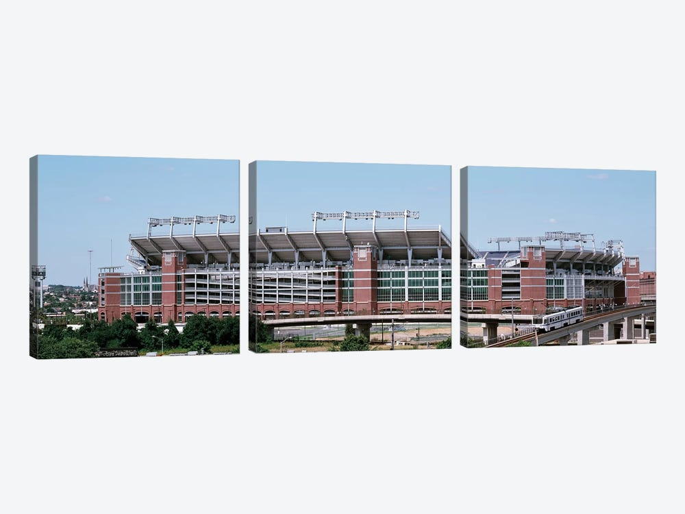 Cable car passing by a stadium, M&T Bank Stadium, Baltimore, Maryland, USA by Panoramic Images 3-piece Canvas Print