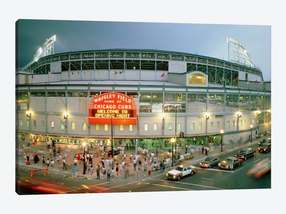 Wrigley Field (From 8/8/88 - The First Night Game That Never Happened), Chicago, Illinois, USA by Panoramic Images 1-piece Canvas Wall Art