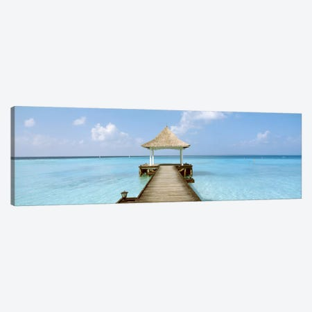 Beach & Pier The Maldives  Canvas Print #PIM1203} by Panoramic Images Art Print