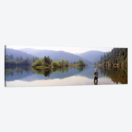Lone Fly Fisherman, Lewiston Lake, Trinity County, California, USA Canvas Print #PIM12045} by Panoramic Images Canvas Wall Art
