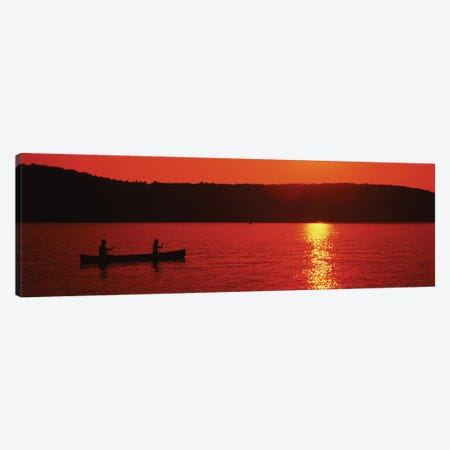 Tourists canoeing in a lake at sunset, Oquaga Lake, Deposit, Broome County, New York State, USA Canvas Print #PIM12056} by Panoramic Images Canvas Art Print