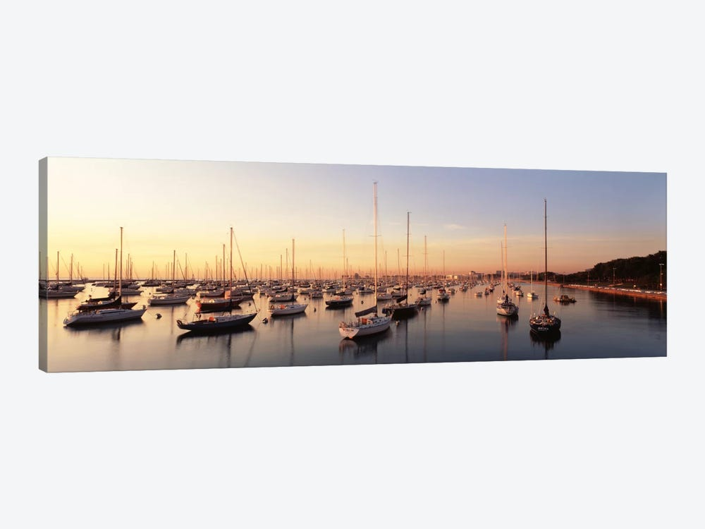 Sunset & harbor Chicago IL USA by Panoramic Images 1-piece Art Print