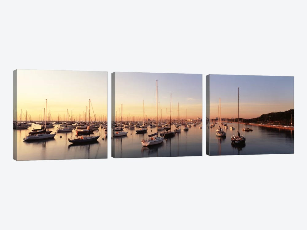 Sunset & harbor Chicago IL USA by Panoramic Images 3-piece Canvas Art Print