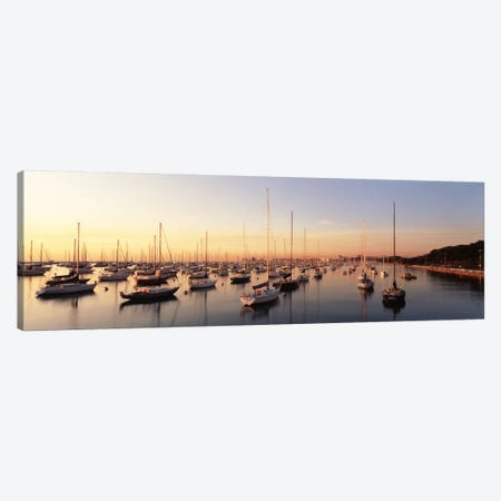 Sunset & harbor Chicago IL USA Canvas Print #PIM1206} by Panoramic Images Canvas Wall Art