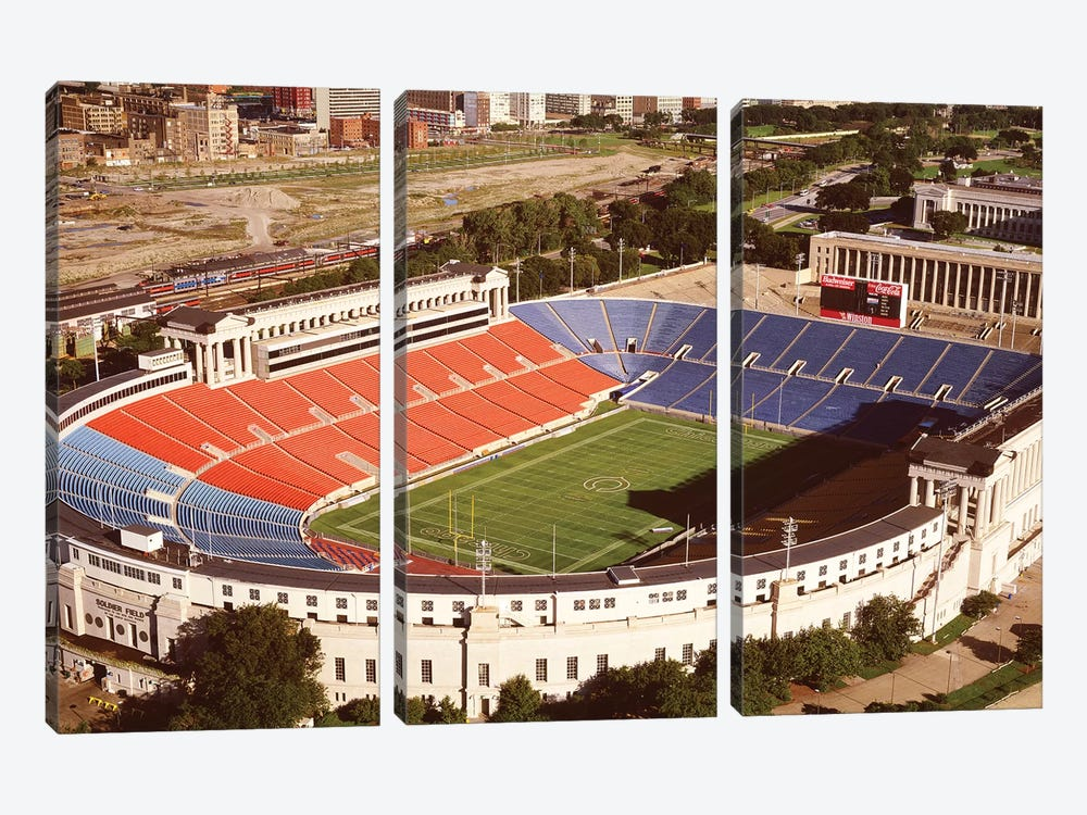 Aerial view of a stadium, Soldier Field, Lake Shore Drive, Chicago, Cook County, Illinois, USA by Panoramic Images 3-piece Canvas Artwork