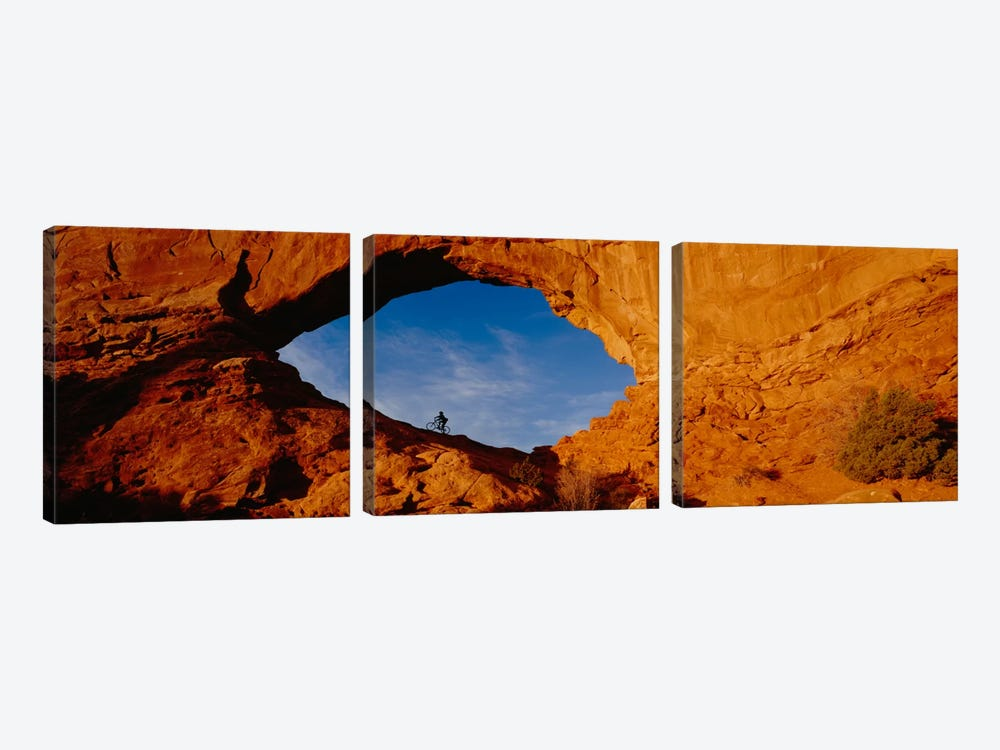 Lone Mountain Biker, North Window Arch, Arches National Park, Utah, USA by Panoramic Images 3-piece Canvas Artwork