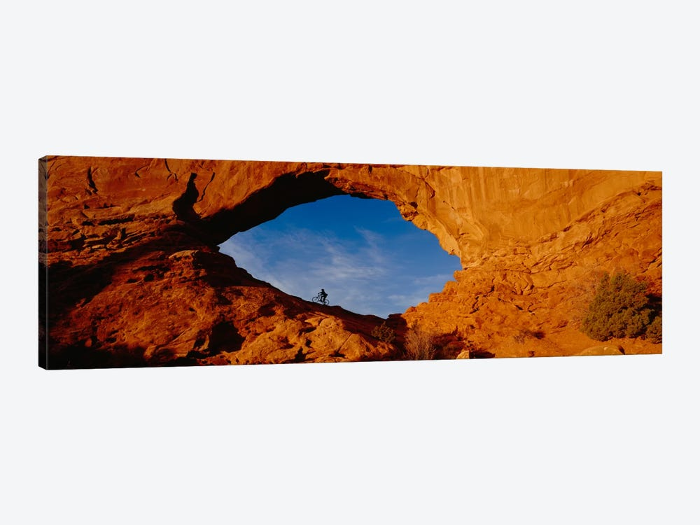 Lone Mountain Biker, North Window Arch, Arches National Park, Utah, USA by Panoramic Images 1-piece Canvas Artwork