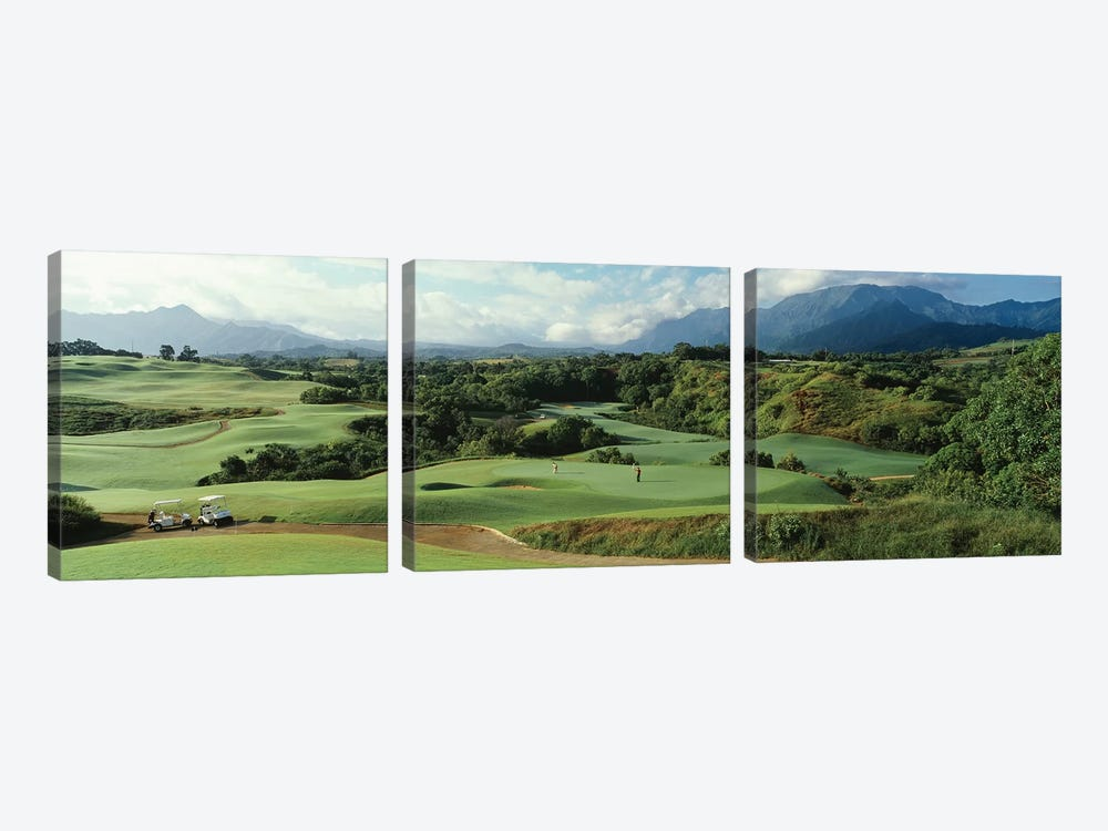 High angle view of a golf course, Princeville Golf Course, Princeville, Kauai County, Hawaii, USA by Panoramic Images 3-piece Canvas Print