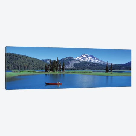 Red Canoe Sparks Lake OR Canvas Print #PIM12117} by Panoramic Images Canvas Art