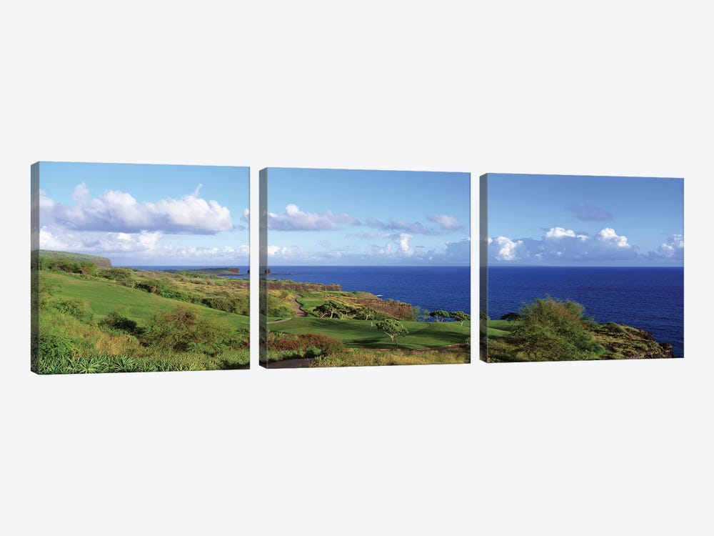 Golf Course, Manalee Bay, Lanai, Hawaii, USA by Panoramic Images 3-piece Art Print