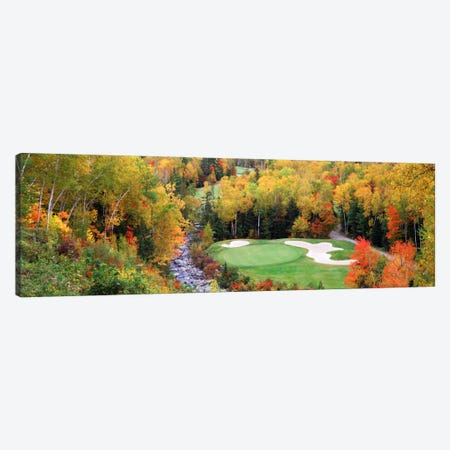 Creekside Green On An Autumn Day, New England, USA Canvas Print #PIM12139} by Panoramic Images Canvas Art Print