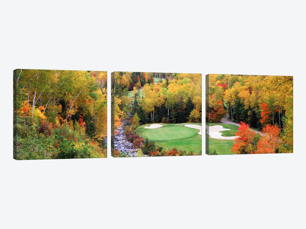 Creekside Green On An Autumn Day, New England, USA by Panoramic Images 3-piece Canvas Art Print