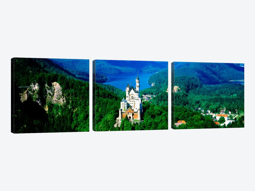 Aerial View, Neuschwanstein Castle, Schwangau, Bavaria, Germany 3-piece Canvas Art Print