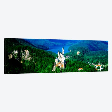 Aerial View, Neuschwanstein Castle, Schwangau, Bavaria, Germany 3-Piece Canvas #PIM1213} by Panoramic Images Canvas Artwork