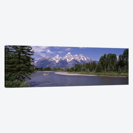 Inflatable raft in a river, Grand Teton National Park, Wyoming, USA Canvas Print #PIM12143} by Panoramic Images Canvas Artwork