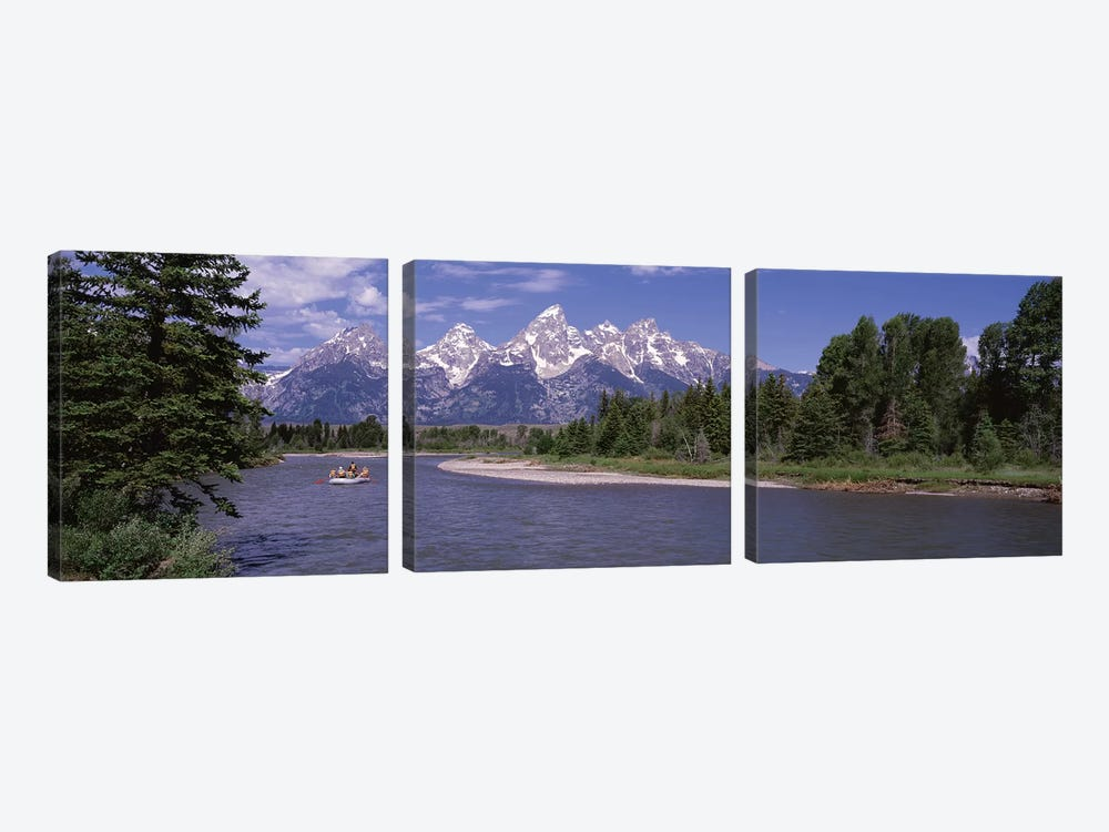 Inflatable raft in a river, Grand Teton National Park, Wyoming, USA by Panoramic Images 3-piece Canvas Art