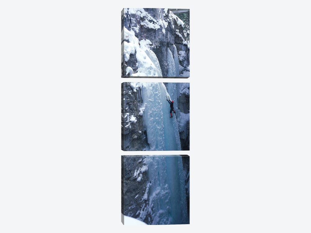 Ice Climber Marble Canyon Kootenay National Park British Columbia Canada by Panoramic Images 3-piece Canvas Print