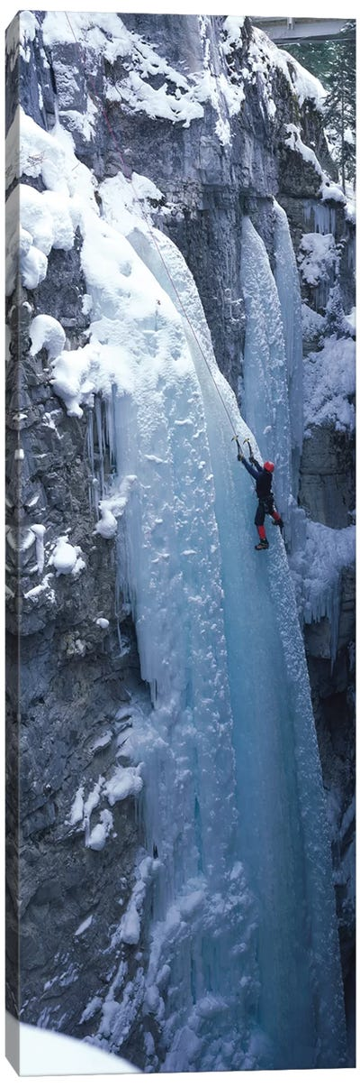 Ice Climber Marble Canyon Kootenay National Park British Columbia Canada Canvas Art Print