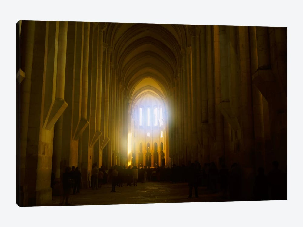 Group of people in the hallway of a cathedral, Alcobaca, Portugal by Panoramic Images 1-piece Canvas Print