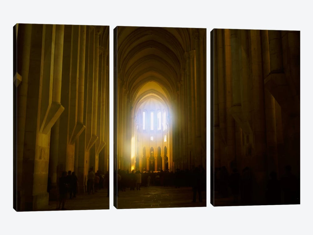 Group of people in the hallway of a cathedral, Alcobaca, Portugal by Panoramic Images 3-piece Canvas Art Print