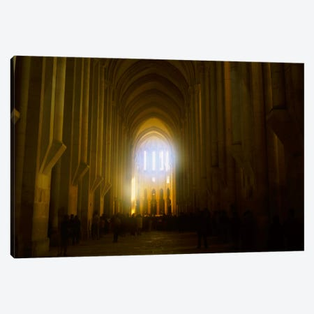 Group of people in the hallway of a cathedral, Alcobaca, Portugal Canvas Print #PIM1215} by Panoramic Images Canvas Art Print