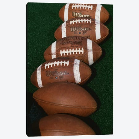 Row Of Game-Used Footballs, Blaik Field At Michie Stadium, U.S. Military Academy At West Point, New York, USA  Canvas Print #PIM12161} by Panoramic Images Canvas Wall Art