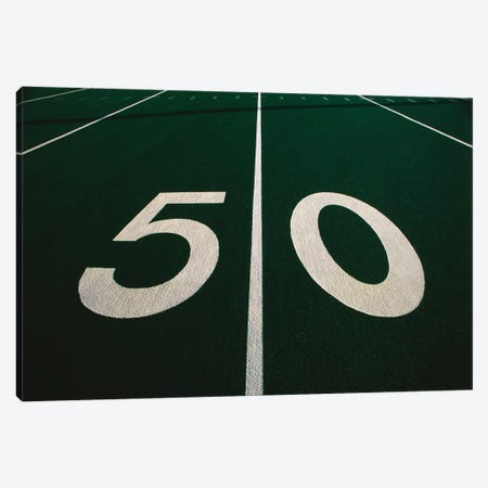 50 Yard Line of Football Field Canvas Print #PIM12162} by Panoramic Images Canvas Wall Art