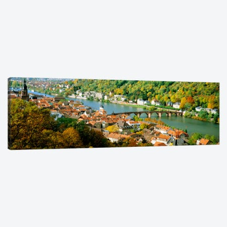 Aerial view of a city at the riversideHeidelberg Castle, Heidelberg, Baden-Wurttemberg, Germany Canvas Print #PIM1217} by Panoramic Images Art Print