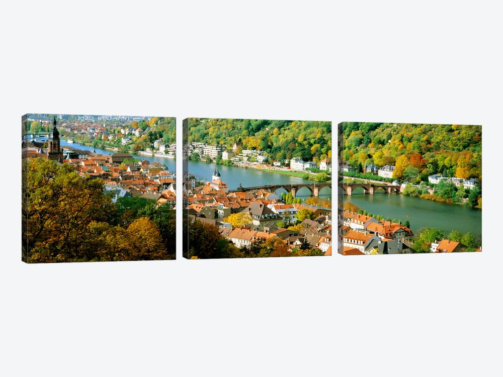 Aerial view of a city at the riversideHeidelberg Castle, Heidelberg, Baden-Wurttemberg, Germany by Panoramic Images 3-piece Art Print