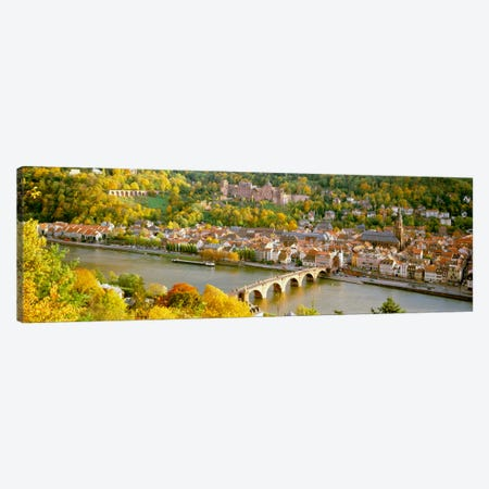 Aerial view of a city at the riversideHeidelberg Castle, Heidelberg, Baden-Wurttemberg, Germany Canvas Print #PIM1219} by Panoramic Images Canvas Wall Art