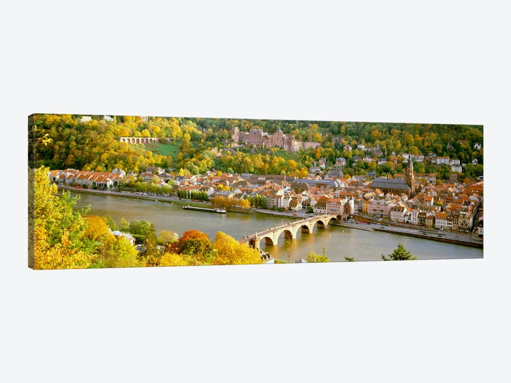 Aerial view of a city at the riversideHeidelberg Castle, Heidelberg, Baden-Wurttemberg, Germany by Panoramic Images 1-piece Canvas Art Print