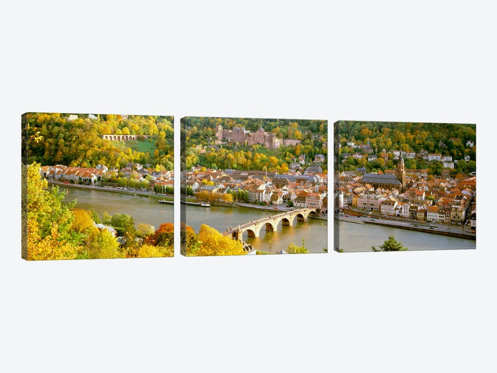 Aerial view of a city at the riversideHeidelberg Castle, Heidelberg, Baden-Wurttemberg, Germany by Panoramic Images 3-piece Canvas Art Print