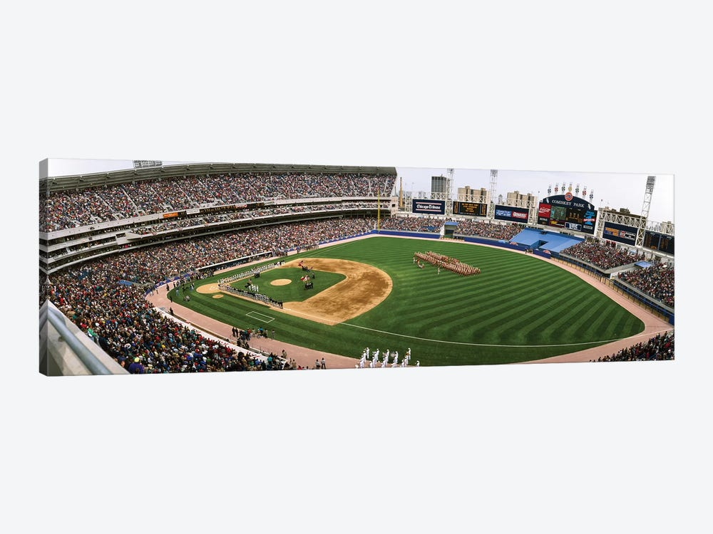 Spectators in a baseball stadium, Comiskey Park, Chicago, Illinois, USA by Panoramic Images 1-piece Canvas Print