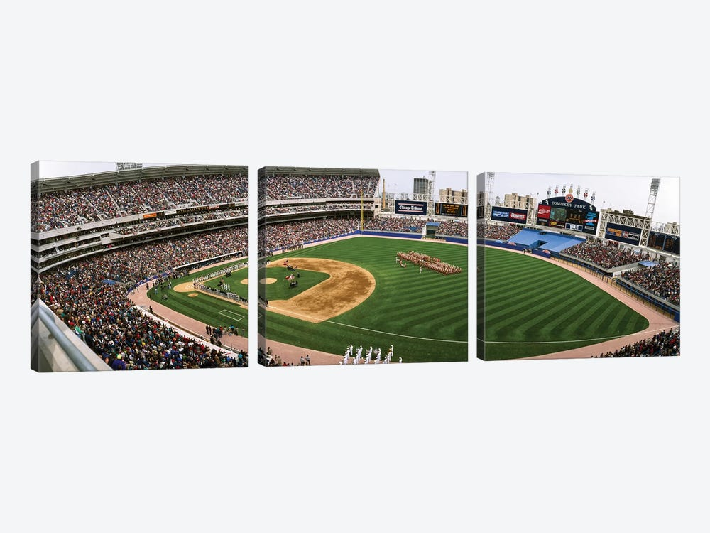 Spectators in a baseball stadium, Comiskey Park, Chicago, Illinois, USA by Panoramic Images 3-piece Canvas Art Print