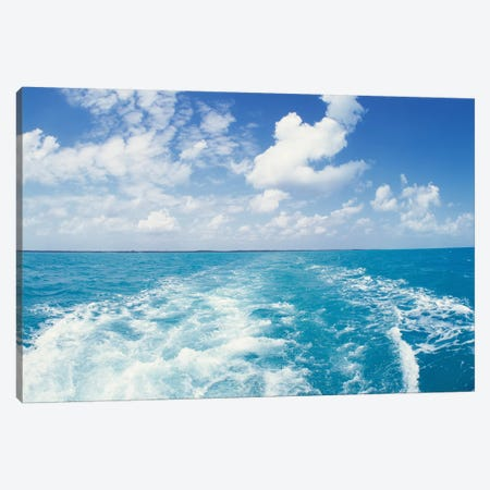 Atlantic Ocean and Boat Wake Florida Keys FL Canvas Print #PIM12204} by Panoramic Images Canvas Art