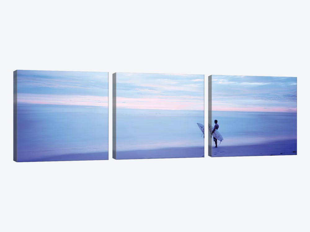 Man With Surfboard on Beach Costa Rica by Panoramic Images 3-piece Canvas Print
