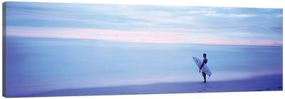 Man With Surfboard on Beach Costa Rica Canvas Art Print