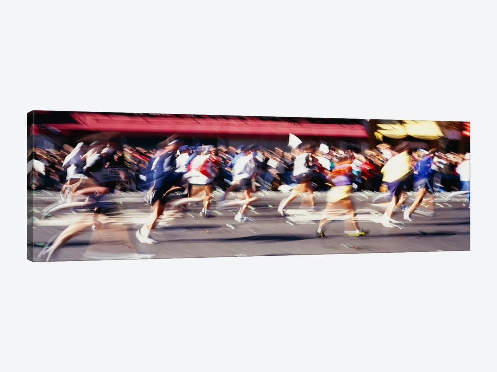 Blurred Motion Side Profile Of Marathon Runners by Panoramic Images 1-piece Canvas Artwork