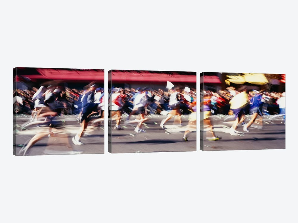 Blurred Motion Side Profile Of Marathon Runners by Panoramic Images 3-piece Canvas Art