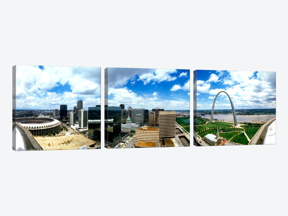 Buildings in a city, Gateway Arch, St. Louis, Missouri, USA by Panoramic Images 3-piece Canvas Artwork