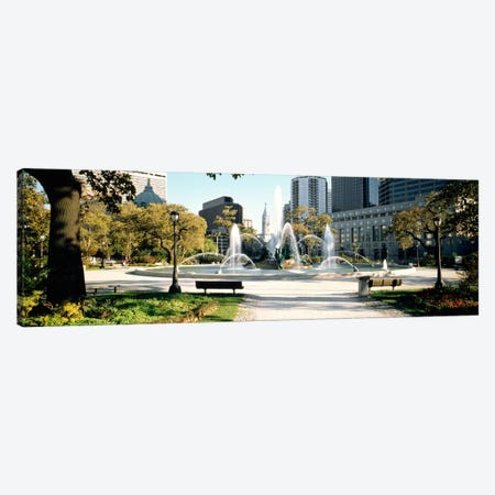 Fountain in a park, Swann Memorial Fountain, Logan Circle, Philadelphia, Philadelphia County, Pennsylvania, USA Canvas Print #PIM1223} by Panoramic Images Canvas Print