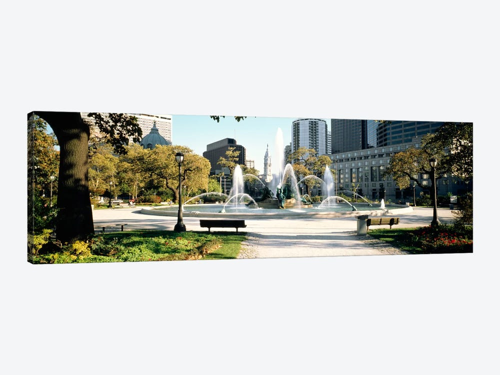 Fountain in a park, Swann Memorial Fountain, Logan Circle, Philadelphia, Philadelphia County, Pennsylvania, USA 1-piece Canvas Art