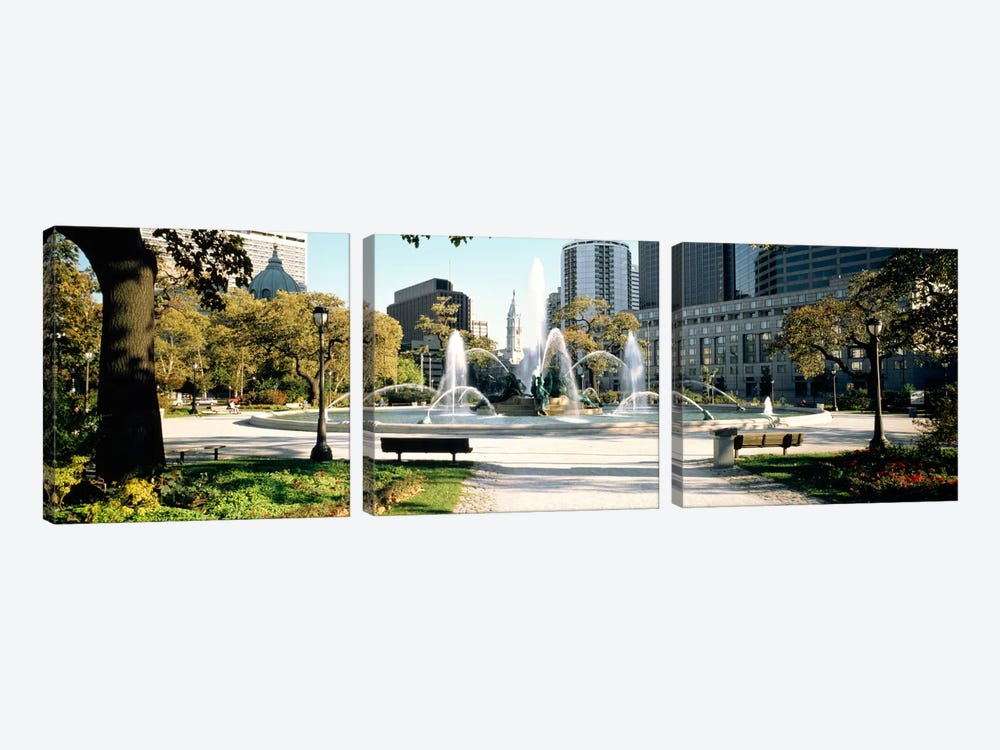 Fountain in a park, Swann Memorial Fountain, Logan Circle, Philadelphia, Philadelphia County, Pennsylvania, USA by Panoramic Images 3-piece Canvas Artwork