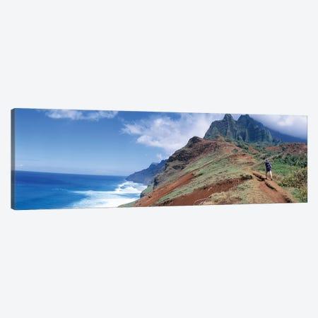 Adult hiking up a mountain, Kalalau Trail , Na Pali Coast, Kauai, Hawaiis Canvas Print #PIM12242} by Panoramic Images Art Print
