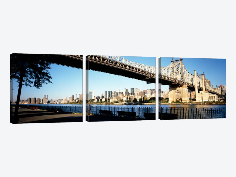 Bridge across a river, Queensboro Bridge, East River, Manhattan, New York City, New York State, USA by Panoramic Images 3-piece Art Print