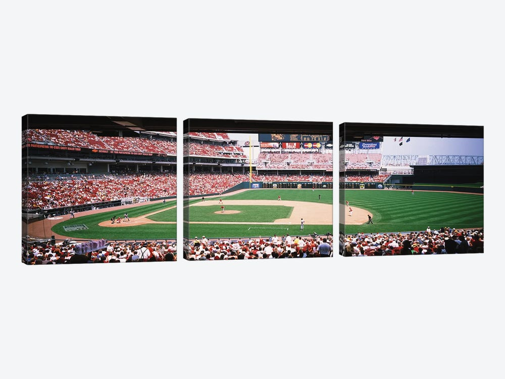 Great American Ballpark First Base Line Cincinnati OH by Panoramic Images 3-piece Canvas Artwork