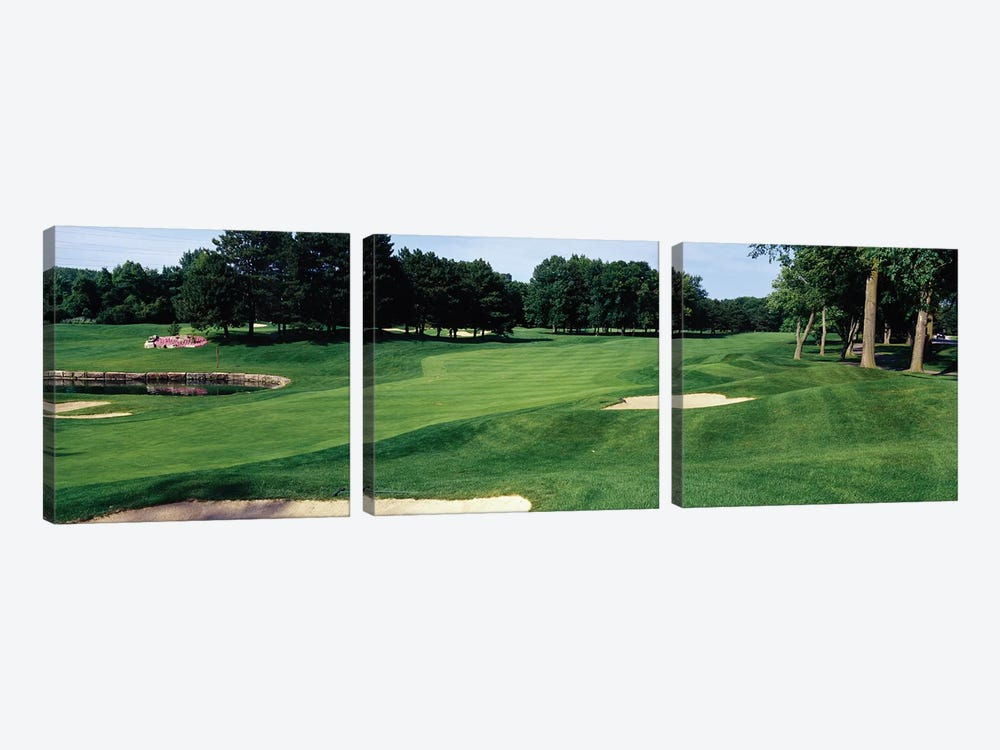 Trees in a golf course, Whirlpool Golf Course, Niagra Falls, Ontario, Canada by Panoramic Images 3-piece Canvas Wall Art