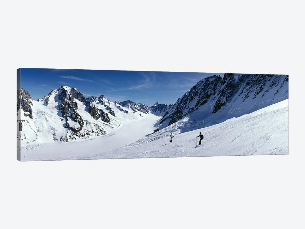 Rear view of two people skiing, Les Grands Montets, Chamonix, France by Panoramic Images 1-piece Art Print